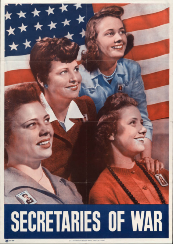 Secretaries of war ; Color image of four women, all wearing Army identification tags. American flag as background