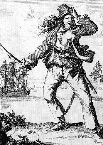 """Woodcuts of Mary Read and Anne Bonny from """"A General History of the Robberies and Murders of the most notorious Pyrates"""" by Daniel Defoe"""