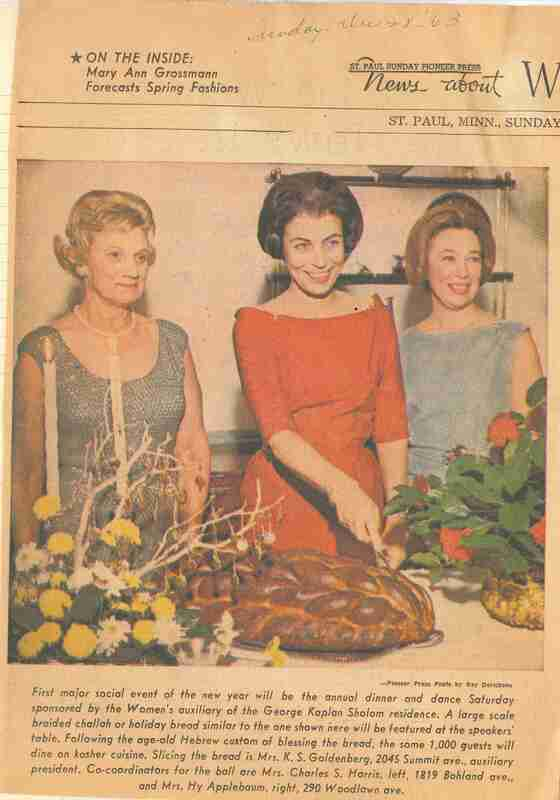 Shalom Home women cut challah; three women cut a loaf of challah bread for winter holiday event; newspaper clipping from the St. Paul Pioneer Press