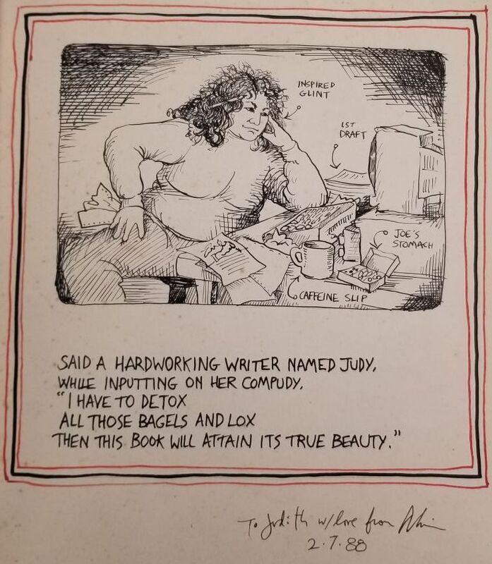 Drawing showing Judith Katz at work