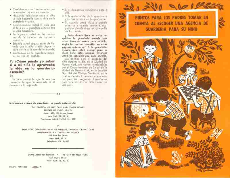 Puntos para los padres tomar en cuenta al escoger una agencia de guarderia para su nino (Points for parents to consider when choosing a childcare agency for your child); Spanish- language day care pamphlet; orange cover with children climbing trees, playing chess, and playing with a bunny and a frog