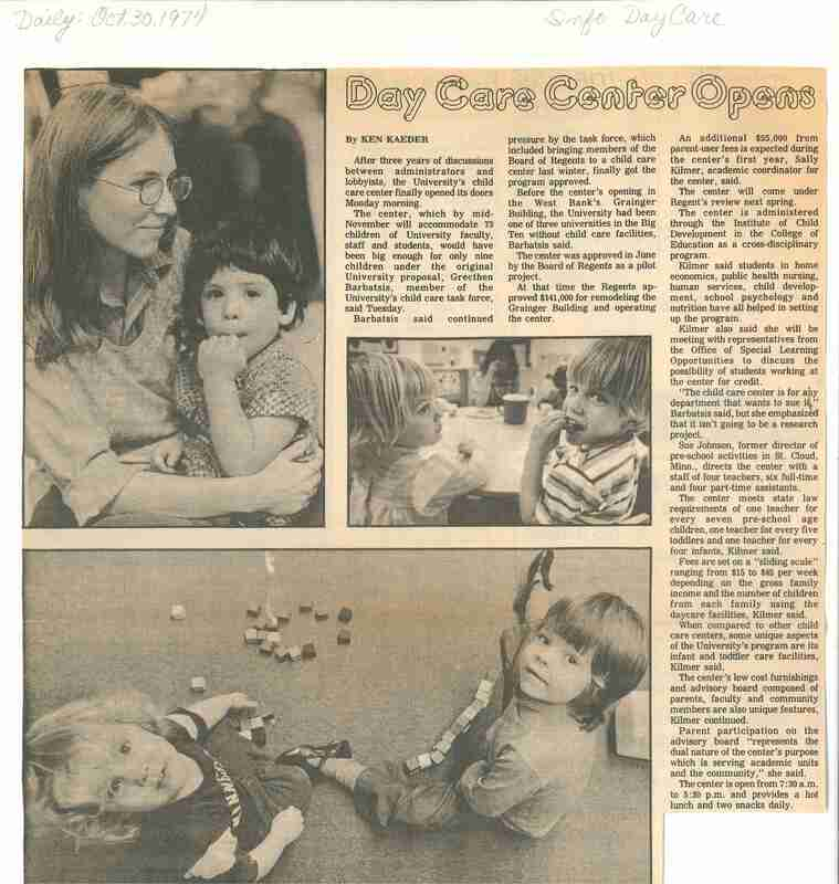 Day Care Center Opens; Newspaper clipping with pictures of children playing at a day care facility; article discusses opening of day care center at University of Minnesota