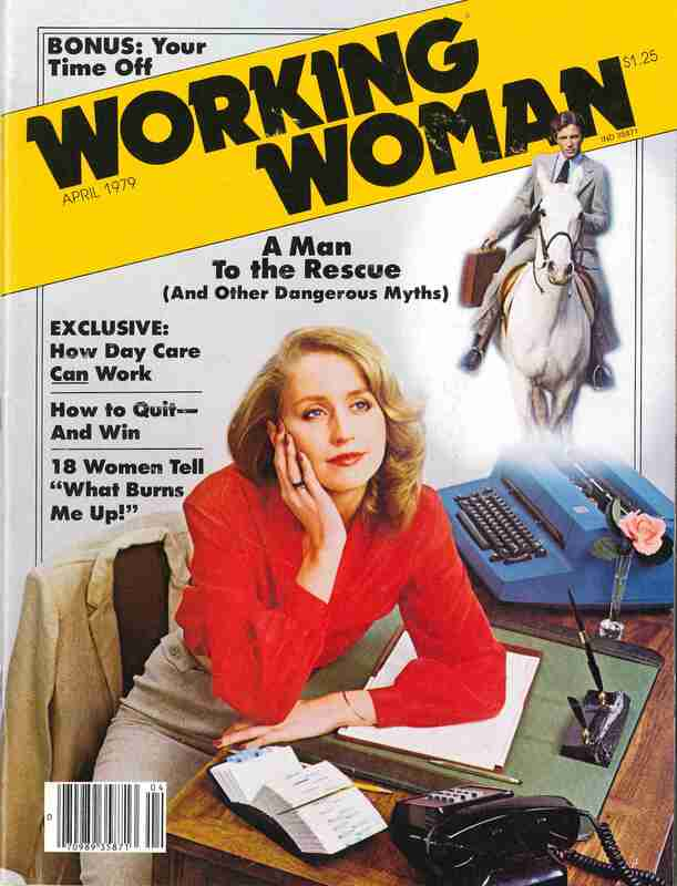 Working Woman Magazine, illustration of a woman sitting at a desk and daydreaming of a man on a white horse coming to rescue her