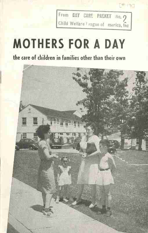 Mothers for a Day; women stand talking to each other with children around them