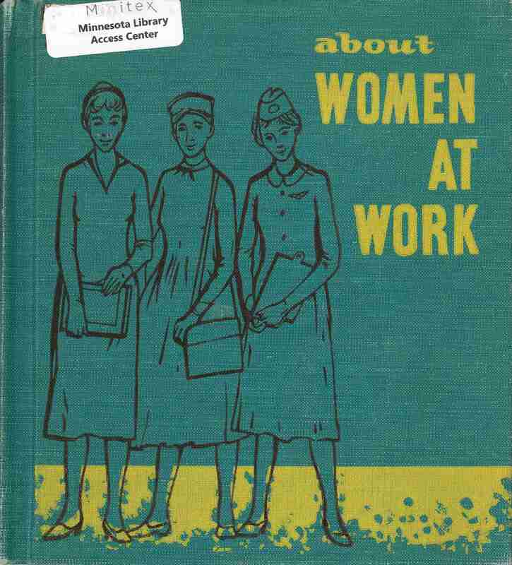 Women at Work; image shows a woman working with books as children stand around her reading them