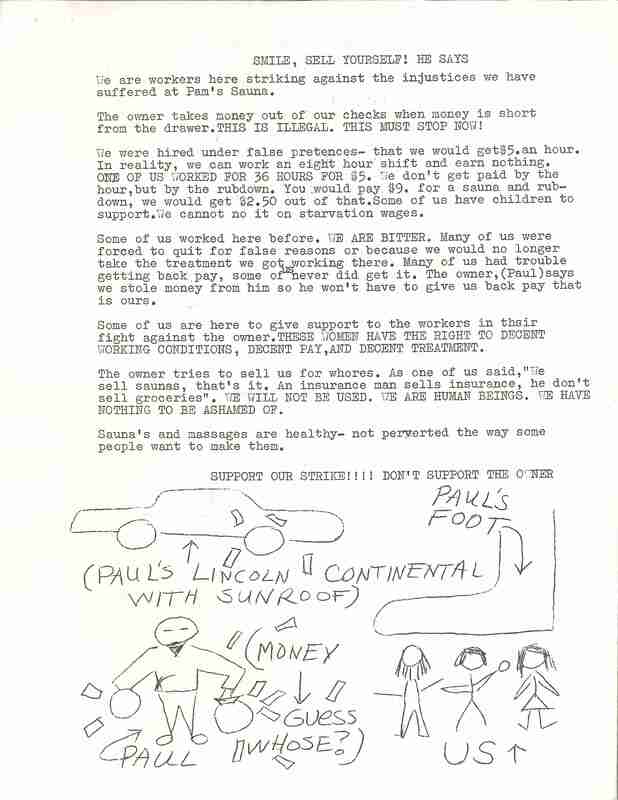 Sauna Protest Letter ; letter outlines grievances toward Pam's Sauna owners including withheld and stolen wages. There are drawings on the letter showing the owner stealing money from their workers.