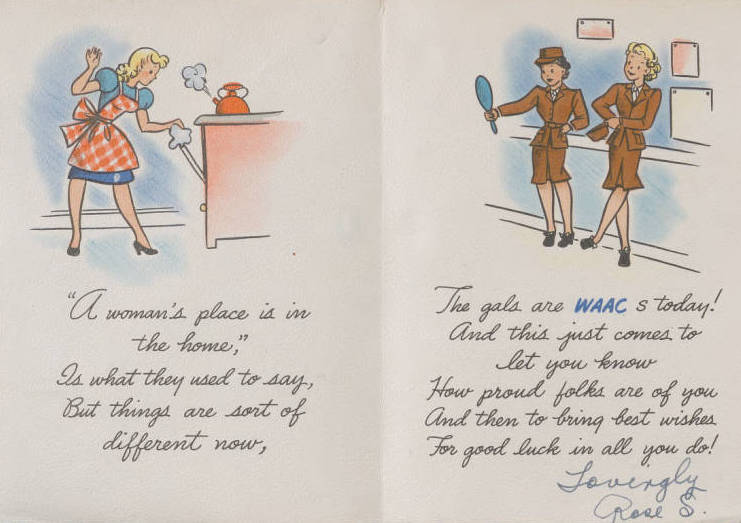 Women's Army Auxiliary Corps (WAAC) valentine ; a woman on one side is cooking in the kitchen and two women are on the other side dressed in uniform and examining their appearance in a mirror