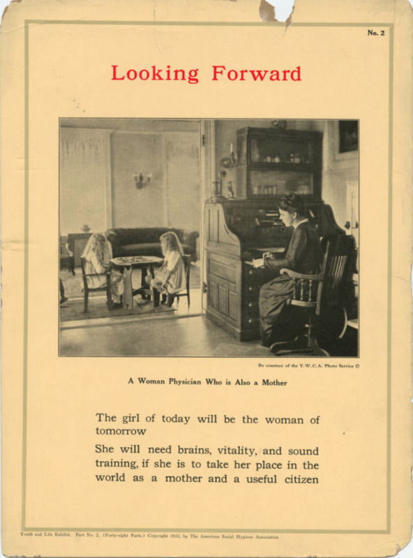 Looking Forward; A female doctor works at a desk while children play a game in the background