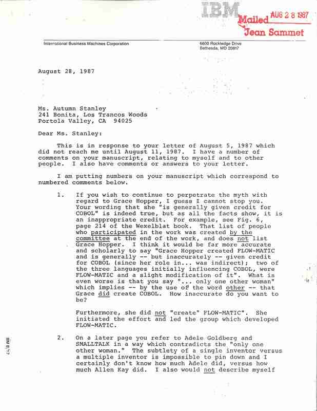 Letter to Ms. Autumn Stanley from Jean Sammet; Jean Sammet wrote to Stanley to point out various ways Stanley misrepresented information related to the creation of computer languages in there publication