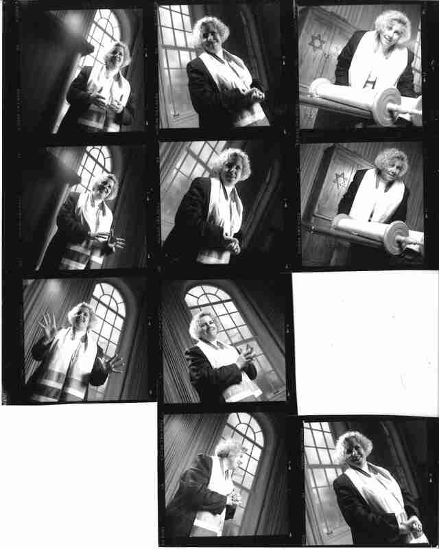 Rabbi Stacy Offner contact sheet; Offner poses in front of a winder in several different pictures, some with a Torah, while wearing a stole