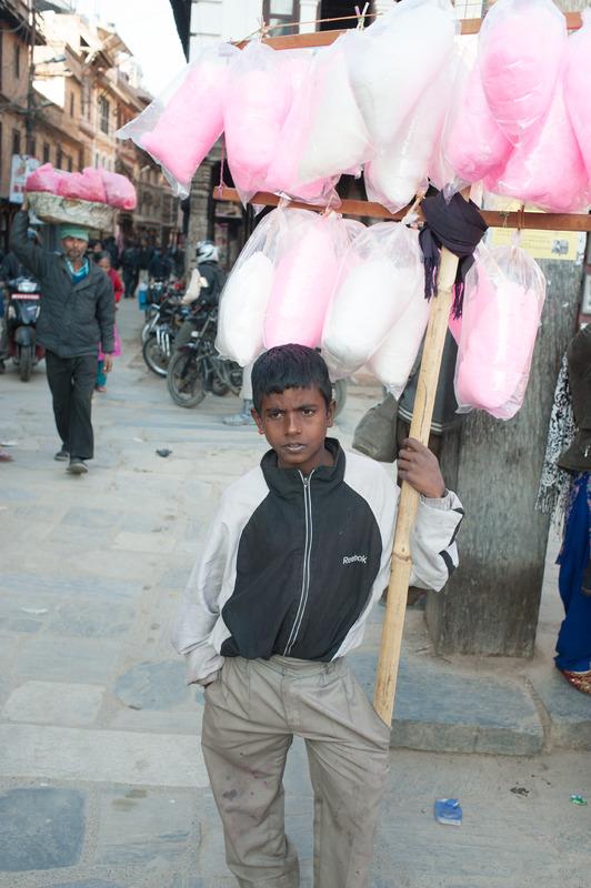 Boy Selling Cotton Candy in Kathmandu, Nepal
