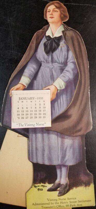 "Angelic Nurse Calendar; a nurse holds a 1931 tear-away calendar which reads ""The Visiting Nurse"" at the bottom of the calendar"