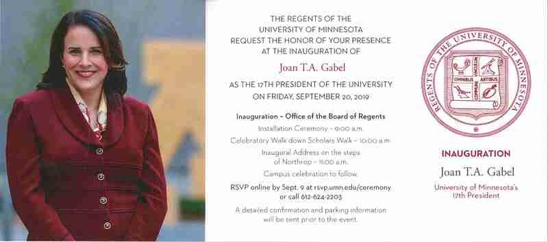 Joan Gabel, President of the University of Minnesota, Inauguration Invitation with photograph of Gabel