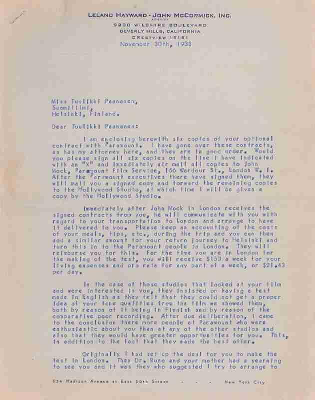 Letter to Tuulikki Paananen regarding her contract