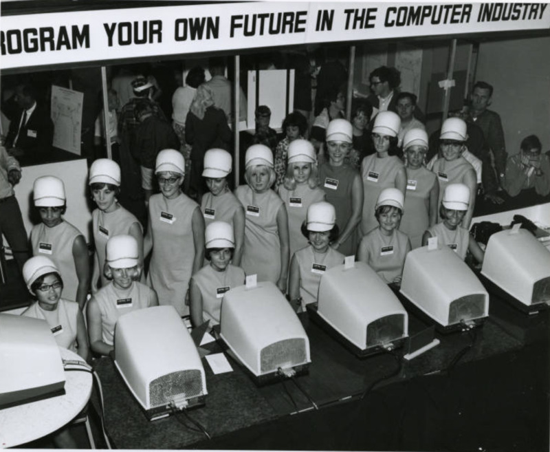 Minnesota State Fair Exhibit; women exhibiting computers