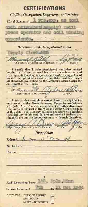 Women's Army Corps Qualification Certificate; a certificate used for enrolling women in the Women's Army Corps