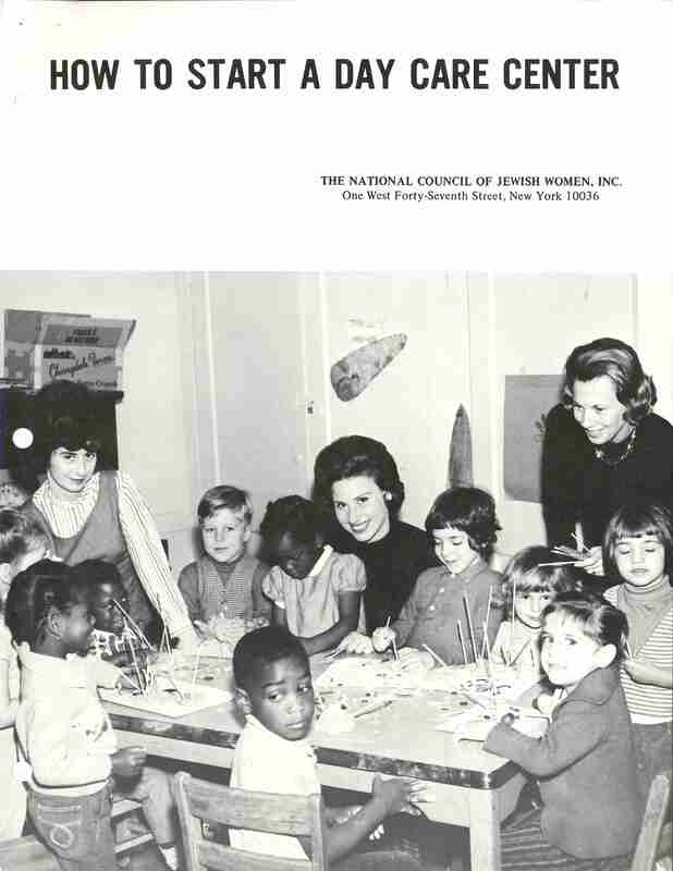 How to Start a Day Care Center; pamphlet, three women sit at a table with children doing arts and crafts