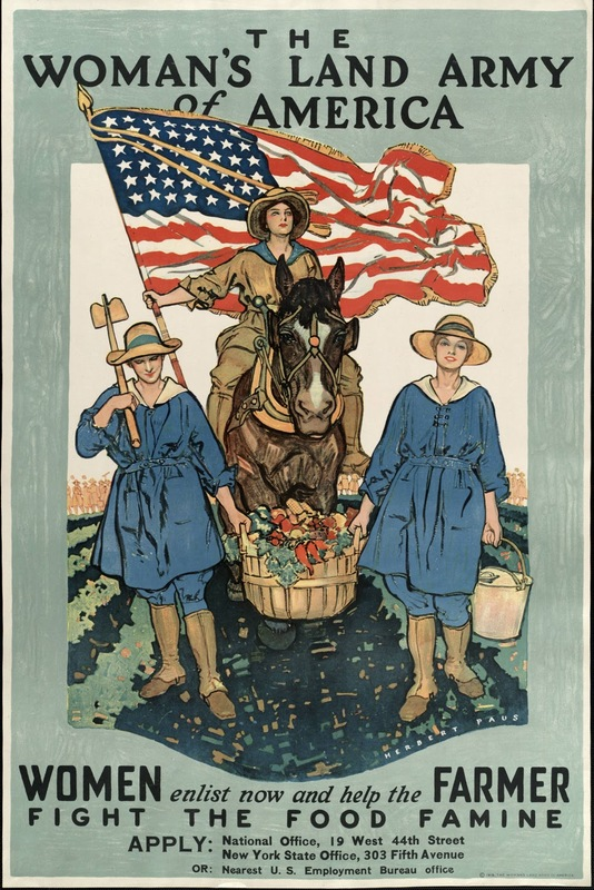 The Woman's Land Army of America ; Two women carrying basket of vegetables in front of woman in uniform on horseback with U.S. flag