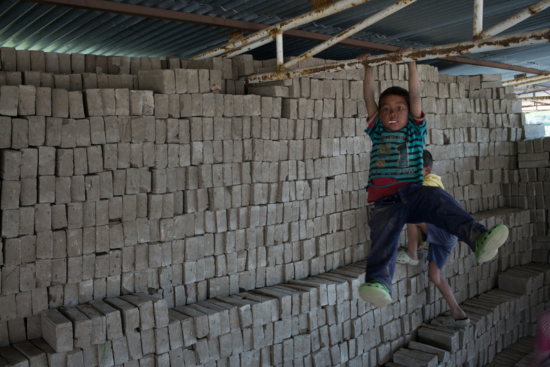Boys Playing in Brickyard, Nepal